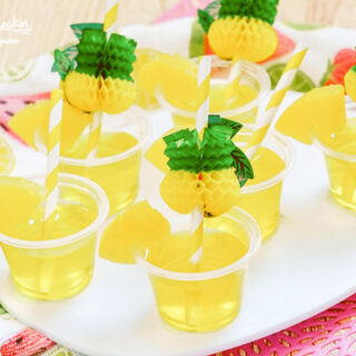 Pineapple Jello Shots on serving plate